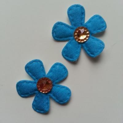 Lot de 2 appliques fleurs avec centre strass  35mm bleu turquoise