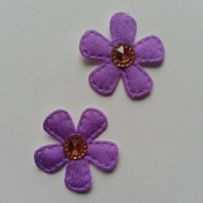 Lot de 2 appliques fleurs avec centre strass  35mm mauve