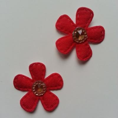 Lot de 2 appliques fleurs avec centre strass  35mm rouge