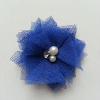 Applique tulle perle et strass 55mm bleu royal