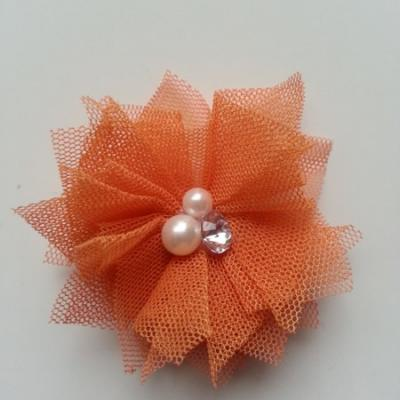 Applique tulle perle et strass 55mm orange