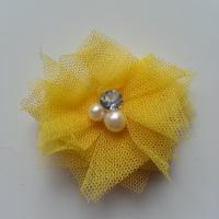 Applique tulle perle et strass 55mm jaune