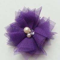 Applique tulle perle et strass 55mm violet foncé