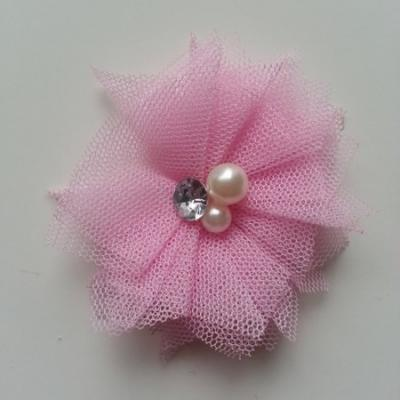 Applique tulle perle et strass 55mm rose