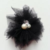 Applique tulle perle et strass 55mm noir