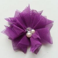 Applique tulle perle et strass 55mm violet