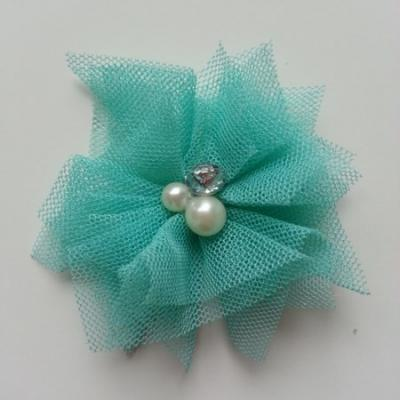 Applique tulle perle et strass 55mm  vert