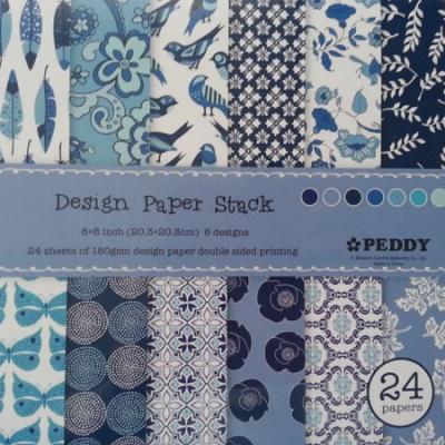 Bloc de 24 feuilles scrapbooking , multi motifs 20*20cm dans les tons bleu
