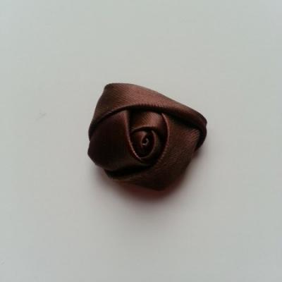 Fleur de satin bouton de rose 2.2cm marron
