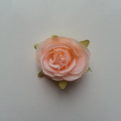 rose en tissu pêche 40mm