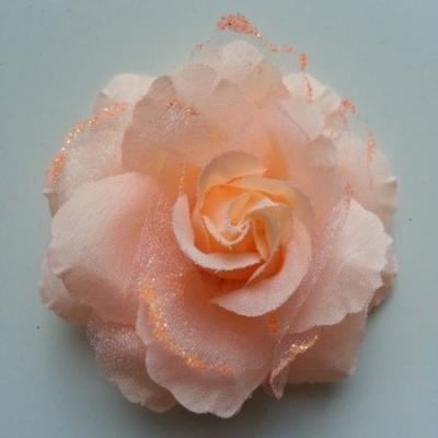 Rose  en tissu pailletée   pêche  70mm