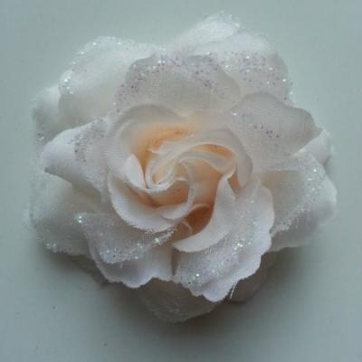 Rose  en tissu pailletée   pêche clair 70mm