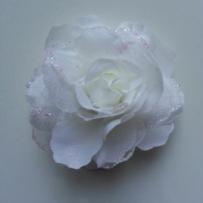 Rose  en tissu pailletée   ivoire  70mm