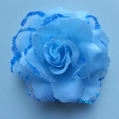 Rose  en tissu pailletée   bleu 70mm