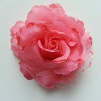 Rose  en tissu pailletée   saumon 70mm