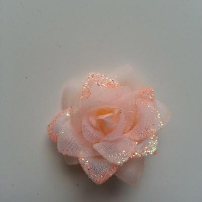 Fleur  en tissu pailletée  pêche  50mm