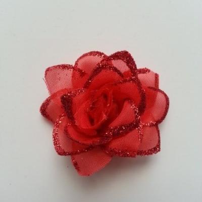 Fleur  en tissu pailletée  rouge  50mm