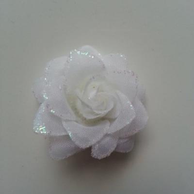 Fleur  en tissu pailletée  ivoire  50mm