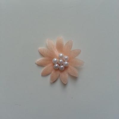 Double fleur  voile  et perle  30mm pêche
