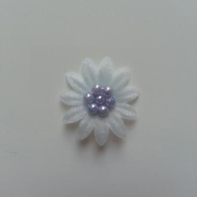 Double fleur  voile  et perle  30mm bleu ciel