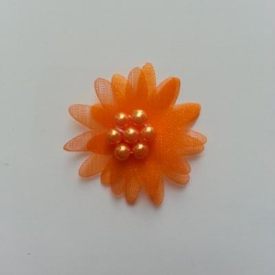 Double fleur  voile  et perle  30mm orange