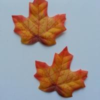 lot de 2 feuilles artificielles en tissu jaune et orange 70*60mm