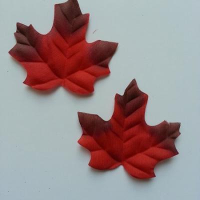 lot de 2 feuilles artificielles en tissu marron et rouge 70*60mm
