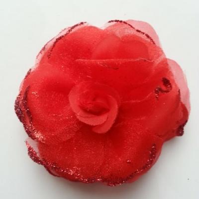 fleur artificielle en tissu  pailletée 90mm rouge