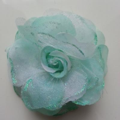 fleur artificielle en tissu  pailletée 90mm vert
