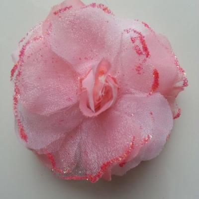 fleur artificielle en tissu rose saumon pailletée 90mm