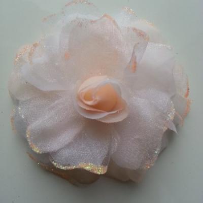 fleur artificielle en tissu  pailletée 90mm pêche clair