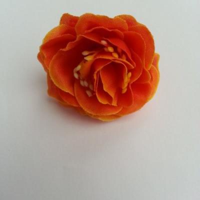 fleur en tissu et pistil orange 50mm
