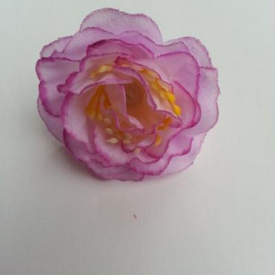 fleur en tissu et pistil violet et blanc  50mm