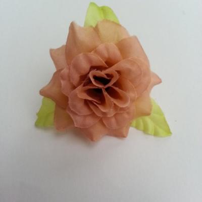 Fleur et feuilles en tissu  pêche 40mm