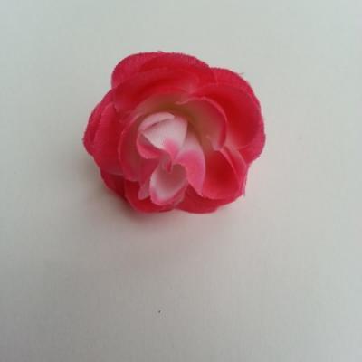 fleur en tissu 35mm rose fuchsia et blanc