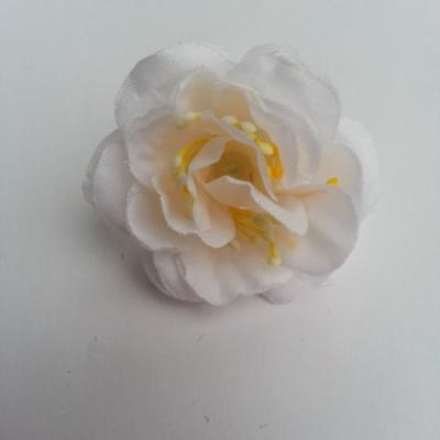 fleur en tissu et pistil blanc 50mm