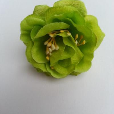 fleur en tissu et pistil vert 50mm