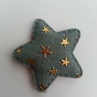 étoile en jean matelassée bleu clair motif étoile or 50mm