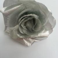 rose en tissu 70mm argent