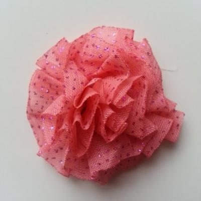 rosette pailleté 50mm rose saumoné
