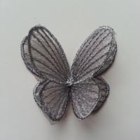 double papillon en dentelle 42*50mm gris