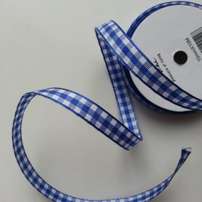 ruban carreaux vichy bleu et blanc 10mm vendu au  mètre