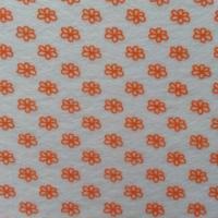 Carré de feutrine motif fleur 15*15cm blanc et orange