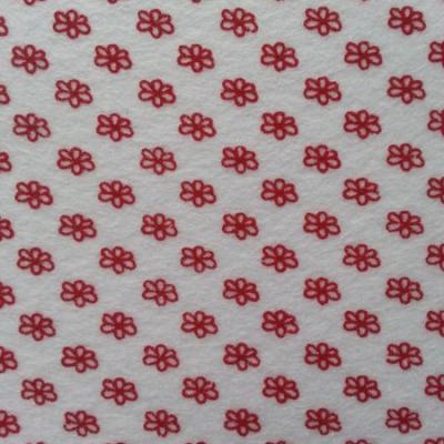 Carré de feutrine motif fleur 15*15cm blanc et rouge