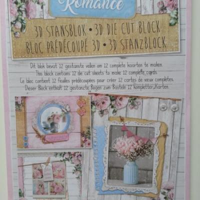 Bloc de 12 cartes prédécoupées motif country romance