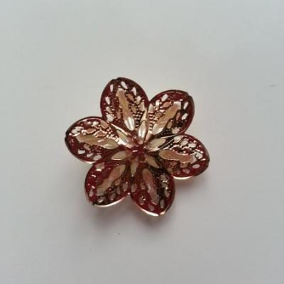 estampe métal fleur doré et fleur plastique ivoire 30mm