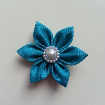 fleur en tissu 4cm bleu turquoise pétales pointus