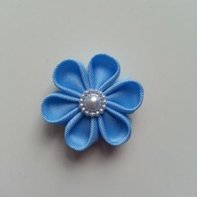 fleur en tissu 4cm bleu ciel pétales ronds