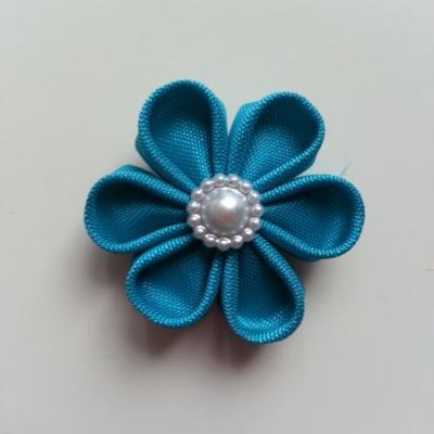 fleur en tissu 4cm bleu turquoise pétales ronds