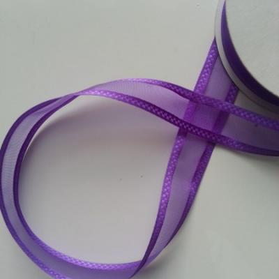ruban satin et organza violet  25mm vendu au  mètre